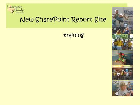 New SharePoint Report Site training. slide 22 SharePoint Admin URL