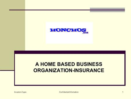 Investorv3.pps Confidential Information1 A HOME BASED BUSINESS ORGANIZATION-INSURANCE.