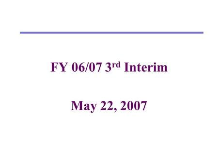 FY 06/07 3 rd Interim May 22, 2007. Changes from 2nd Interim to 3rd Interim UnrestrictedRestrictedCombined Revenues 2nd Interim New Revisions/Amendments.