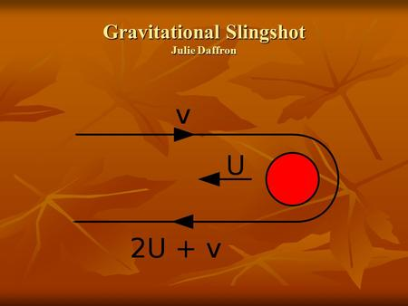 Gravitational Slingshot Julie Daffron. Contents Who discovered the theory? Who discovered the theory? How is it used? How is it used? What are the benefits.