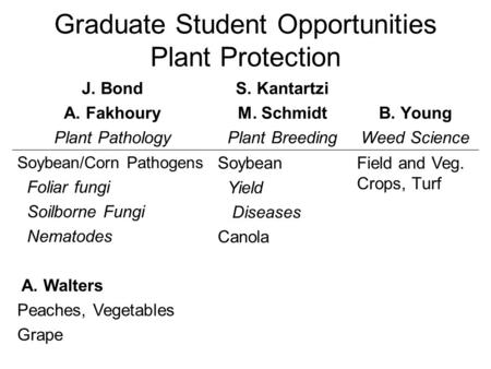 Graduate Student Opportunities Plant Protection J. Bond A. Fakhoury Plant Pathology S. Kantartzi M. Schmidt Plant Breeding B. Young Weed Science Soybean/Corn.