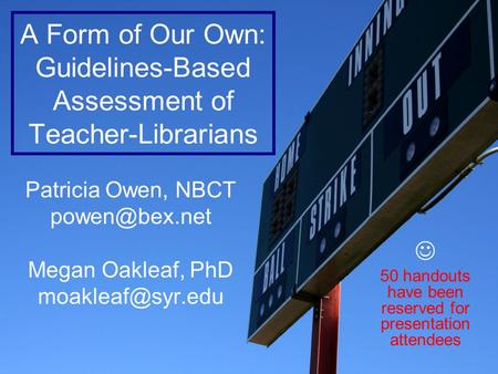 A Form of Our Own: Guidelines-Based Assessment of Teacher-Librarians