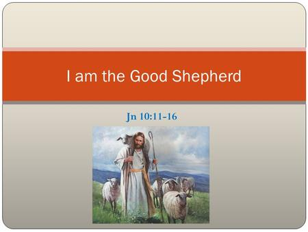 Jn 10:11-16 I am the Good Shepherd. Introduction The use of shepherd and sheep in OT God as shepherd for His people Ps 28:9, 77:20 & 78:52; Is 40:11;