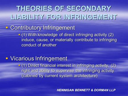 THEORIES OF SECONDARY LIABILITY FOR INFRINGEMENT Contributory Infringement Contributory Infringement (1) With knowledge of direct infringing activity (2)