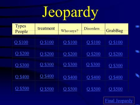 Jeopardy Types People treatment Who says? Disorders GrabBag Q $100 Q $200 Q $300 Q $400 Q $500 Q $100 Q $200 Q $300 Q $400 Q $500 Final Jeopardy.
