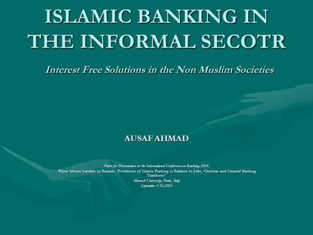 Islamic banking and finance a review essay