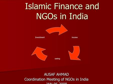 Islamic Finance and NGOs in India AUSAF AHMAD Coordination Meeting of NGOs in India JAN 06 2008 income saving Investment.