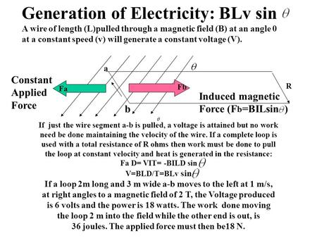 Generation of Electricity: BLv sin A wire of length (L)pulled through a magnetic field (B) at an angle 0 at a constant speed (v) will generate a constant.