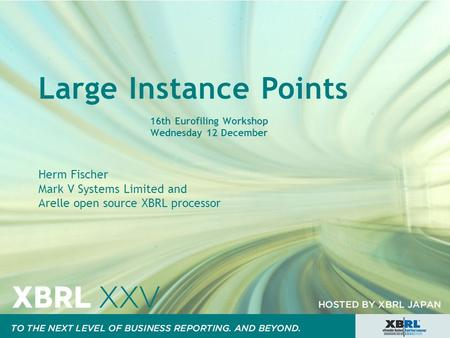 Large Instance Points 16th Eurofiling Workshop Wednesday 12 December Herm Fischer Mark V Systems Limited and Arelle open source XBRL processor.