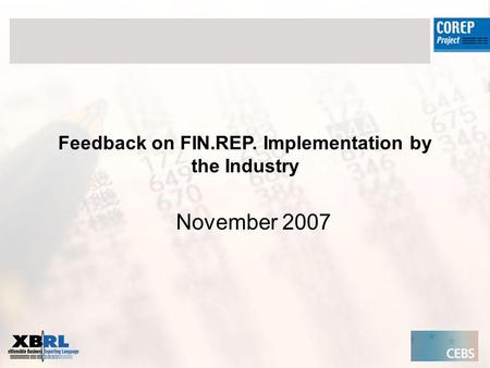 Feedback on FIN.REP. Implementation by the Industry November 2007.
