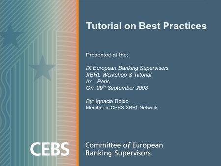 Tutorial on Best Practices Presented at the: IX European Banking Supervisors XBRL Workshop & Tutorial In: Paris On: 29 th September 2008 By: Ignacio Boixo.