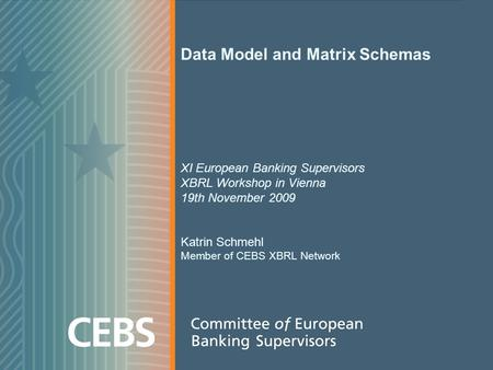Data Model and Matrix Schemas XI European Banking Supervisors XBRL Workshop in Vienna 19th November 2009 Katrin Schmehl Member of CEBS XBRL Network.