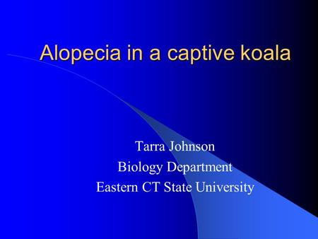 Alopecia in a captive koala Tarra Johnson Biology Department Eastern CT State University.