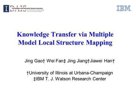 Knowledge Transfer via Multiple Model Local Structure Mapping Jing Gao Wei Fan Jing JiangJiawei Han University of Illinois at Urbana-Champaign IBM T. J.