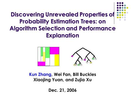 Discovering Unrevealed Properties of Probability Estimation Trees: on Algorithm Selection and Performance Explanation Discovering Unrevealed Properties.