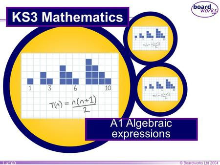 © Boardworks Ltd 2004 1 of 60 KS3 Mathematics A1 Algebraic expressions.