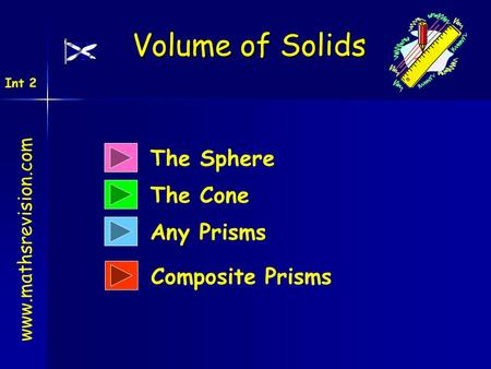 Volume of Solids The Sphere The Cone Any Prisms Composite Prisms