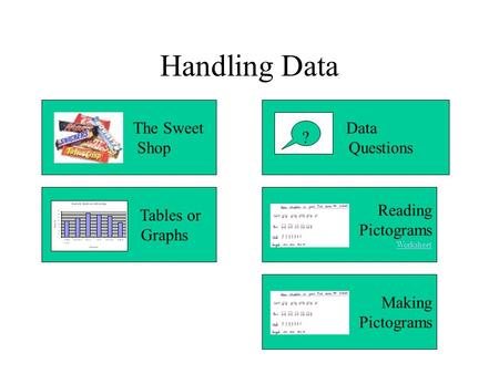 Handling Data The Sweet Shop Data Questions ? Tables or Graphs