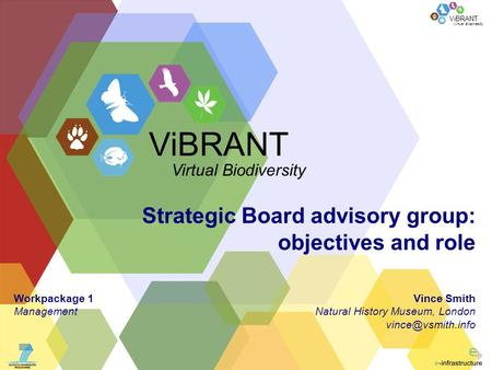 Virtual Biodiversity ViBRANT Strategic Board advisory group: objectives and role Vince Smith Natural History Museum, London ViBRANT Virtual.