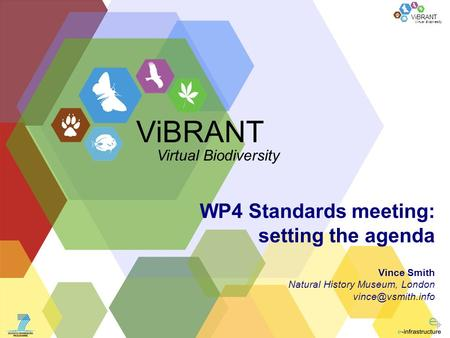 Virtual Biodiversity ViBRANT WP4 Standards meeting: setting the agenda Vince Smith Natural History Museum, London ViBRANT Virtual Biodiversity.