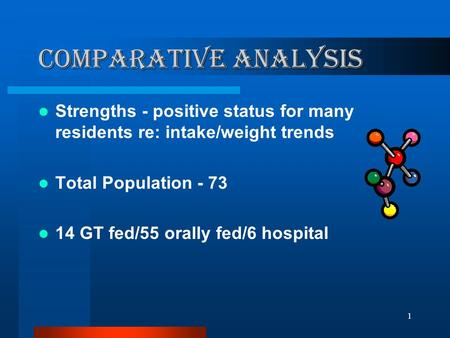 1 Comparative Analysis Strengths - positive status for many residents re: intake/weight trends Total Population - 73 14 GT fed/55 orally fed/6 hospital.