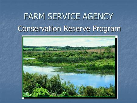 FARM SERVICE AGENCY Conservation Reserve Program Conservation Reserve Program.
