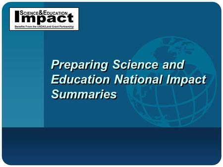 Preparing Science and Education National Impact Summaries.