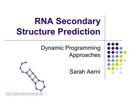 RNA Secondary Structure Prediction Dynamic Programming Approaches Sarah Aerni