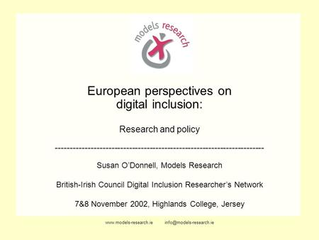 European perspectives on digital inclusion: Research and policy -----------------------------------------------------------------------