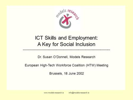 ICT Skills and Employment: A Key for Social Inclusion -----------------------------------------------------------------------