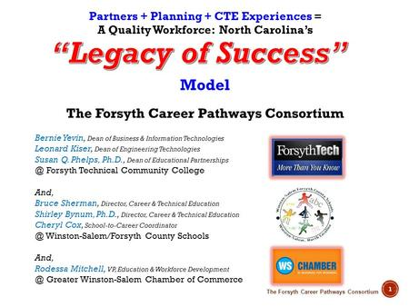 The Forsyth Career Pathways Consortium 1 Partners + Planning + CTE Experiences = A Quality Workforce: North Carolinas Model The Forsyth Career Pathways.