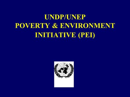 UNDP/UNEP POVERTY & ENVIRONMENT INITIATIVE (PEI).
