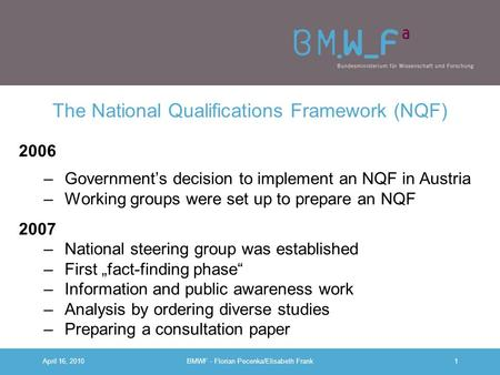 The National Qualifications Framework (NQF)