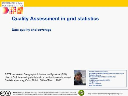 1 Quality Assessment in grid statistics Data quality and coverage ESTP course on Geographic Information Systems (GIS): Use of GIS for making statistics.