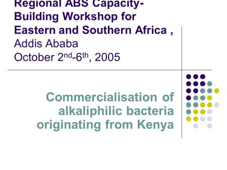 Regional ABS Capacity- Building Workshop for Eastern and Southern Africa, Addis Ababa October 2 nd -6 th, 2005 Commercialisation of alkaliphilic bacteria.