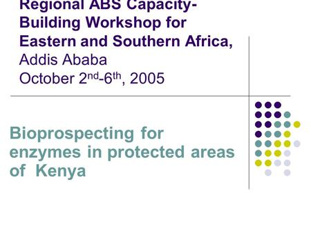 Regional ABS Capacity- Building Workshop for Eastern and Southern Africa, Addis Ababa October 2 nd -6 th, 2005 Bioprospecting for enzymes in protected.
