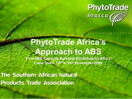 PhytoTrade Africas Approach to ABS First ABS Capacity Building Workshop for Africa Cape Town, 19 th to 24 th November 2006.