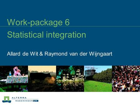 Work-package 6 Statistical integration Allard de Wit & Raymond van der Wijngaart.