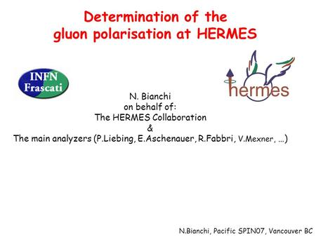 Determination of the gluon polarisation at HERMES N. Bianchi on behalf of: The HERMES Collaboration & The main analyzers (P.Liebing, E.Aschenauer, R.Fabbri,