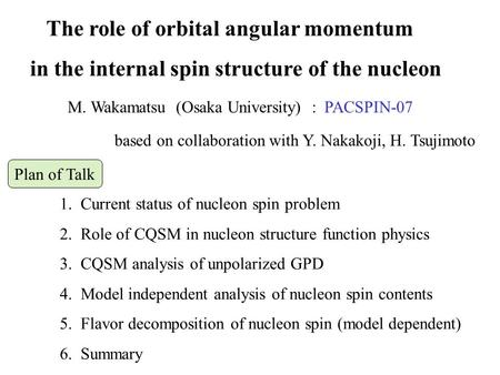 The role of orbital angular momentum in the internal spin structure of the nucleon based on collaboration with Y. Nakakoji, H. Tsujimoto 1. Current status.