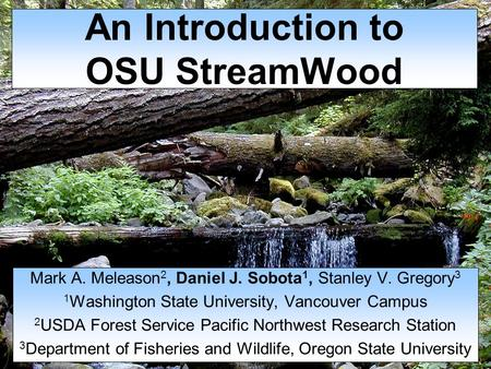An Introduction to OSU StreamWood Mark A. Meleason 2, Daniel J. Sobota 1, Stanley V. Gregory 3 1 Washington State University, Vancouver Campus 2 USDA Forest.