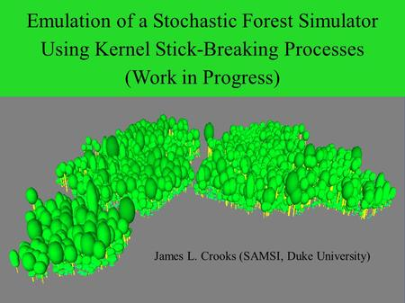 Emulation of a Stochastic Forest Simulator Using Kernel Stick-Breaking Processes (Work in Progress) James L. Crooks (SAMSI, Duke University)