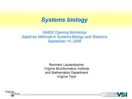 Systems biology SAMSI Opening Workshop Algebraic Methods in Systems Biology and Statistics September 14, 2008 Reinhard Laubenbacher Virginia Bioinformatics.