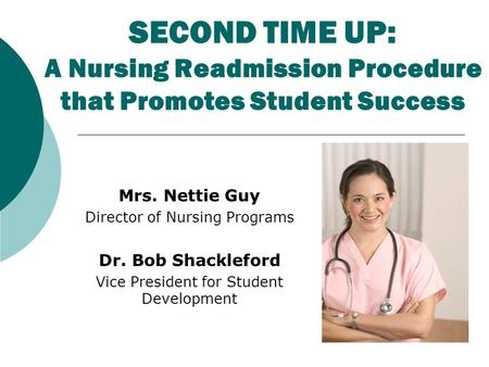 SECOND TIME UP: A Nursing Readmission Procedure that Promotes Student Success Mrs. Nettie Guy Director of Nursing Programs Dr. Bob Shackleford Vice President.