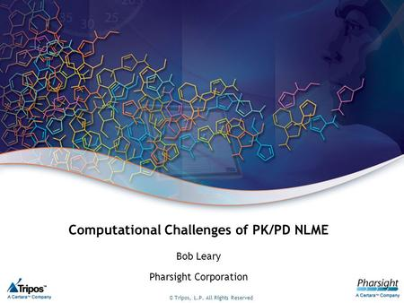 © Tripos, L.P. All Rights Reserved Computational Challenges of PK/PD NLME Bob Leary Pharsight Corporation.