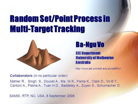 Random Set/Point Process in Multi-Target Tracking
