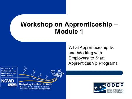 Workshop on Apprenticeship – Module 1 What Apprenticeship Is and Working with Employers to Start Apprenticeship Programs.