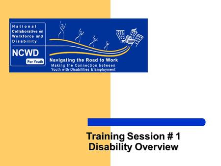 Training Session # 1 Disability Overview. National Collaborative on Workforce and Disability/Youth -- Making the Connection between Youth with Disabilities.