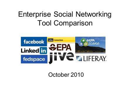 Enterprise Social Networking Tool Comparison October 2010.