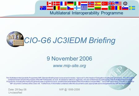 MIP Standard Briefing 29 September 2006